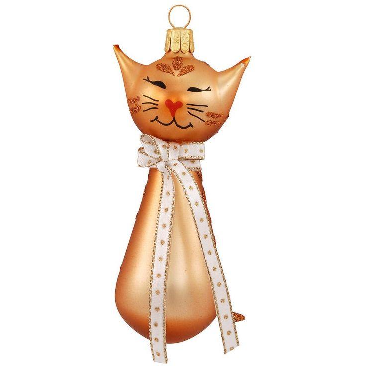 """Gold Cat Blown Glass Ornament Золото Cat выдувное стекло орнамент Пункт # 1193557 Порода отдельно от остальных, эта капризная кошка выдувное стекло орнамент искусно изготовлен в Чехии. Мерцающий с великолепными золотыми глазурей и ослепительной меди блеск акценты, это фантазии кошачьего с очаровательной ручной росписью лицо, украшенную в форме сердца нос и меры 4¼ """"высокий.  Легенда карты Cat включен. Количество: В наличии - $ 15.99"""