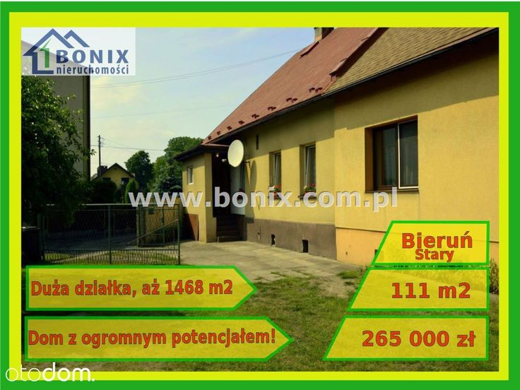 Fantastyczny 3 pokojowy dom na sprzedaż w miejscowości Bieruń, śląskie, Bieruń Stary, za cenę 265 000 zł. Ten dom na sprzedaż, położony na działce o powierzchni 1 468 m² ma 111 m² powierzchni użytkowej i 111 m² powierzchni całkowitej. Otodom 44456256