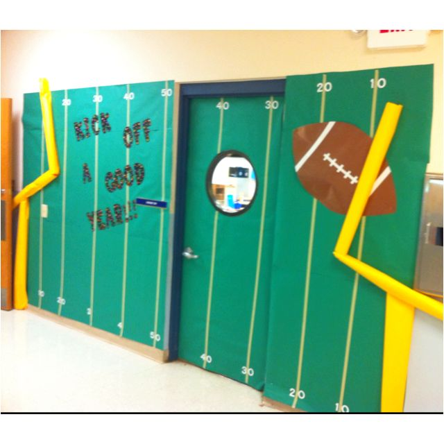 """My door for back to school. """"Kick off a good year!!!"""""""