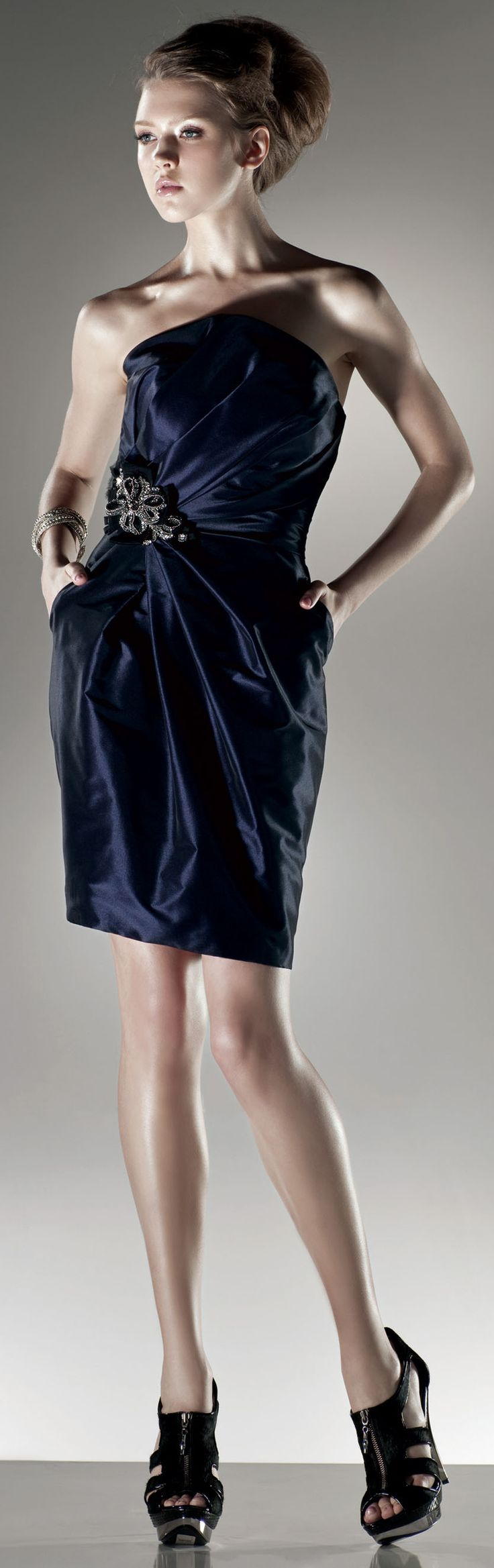 Strapless ruched bodice short dress