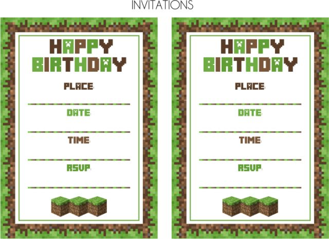 Minecraft Birthday Invitation  WebcompanionInfo