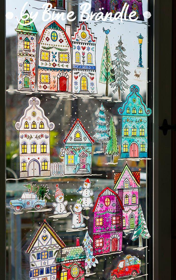 Die Große Winterstadt Fensterbilder Weihnachten
