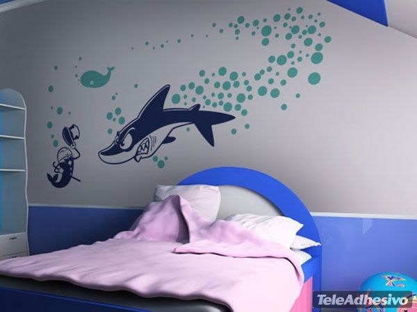 Adesivi Murali Shark attack