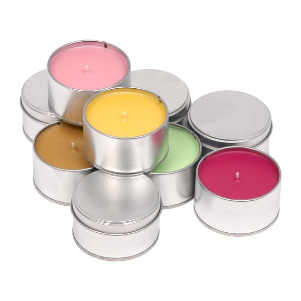 Colourful tin candles by Muji