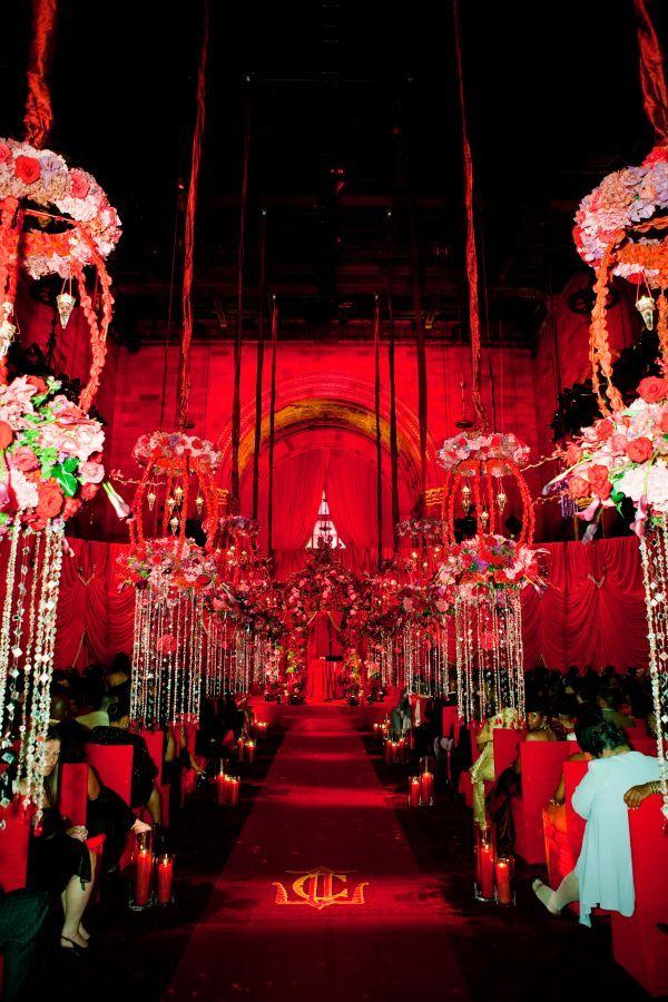 Red Wedding Ceremony Decor. Cipriani 42nd St U2013 New York City