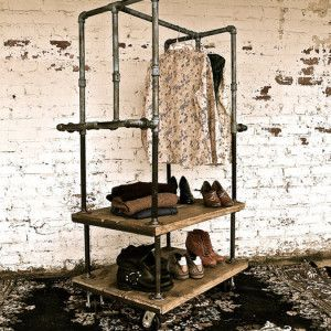 I love the look of this clothing rack. BOX CART INDUSTRIAL GARMENT RACK - Oilfield Slang