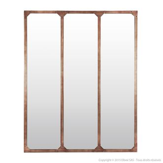 Miroir fenêtre tryptique en métal rectangulaire 120x95cm TEKE                                                                                                                                                                                 Plus