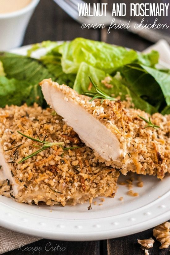 Walnut and Rosemary Oven Fried Chicken at http://therecipecritic.com  An amazing walnut and rosemary crusted chicken that is only 300 calories!  Light and packed with flavor this is a win!