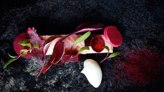 Gerookte paling met rode biet en zure room (Sergio Herman)
