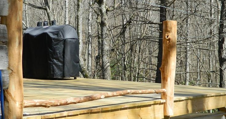 building a rustic deck railing part 2, installing log posts, skip peel finish methods, mortise and tenon joint methods, installing foot rails