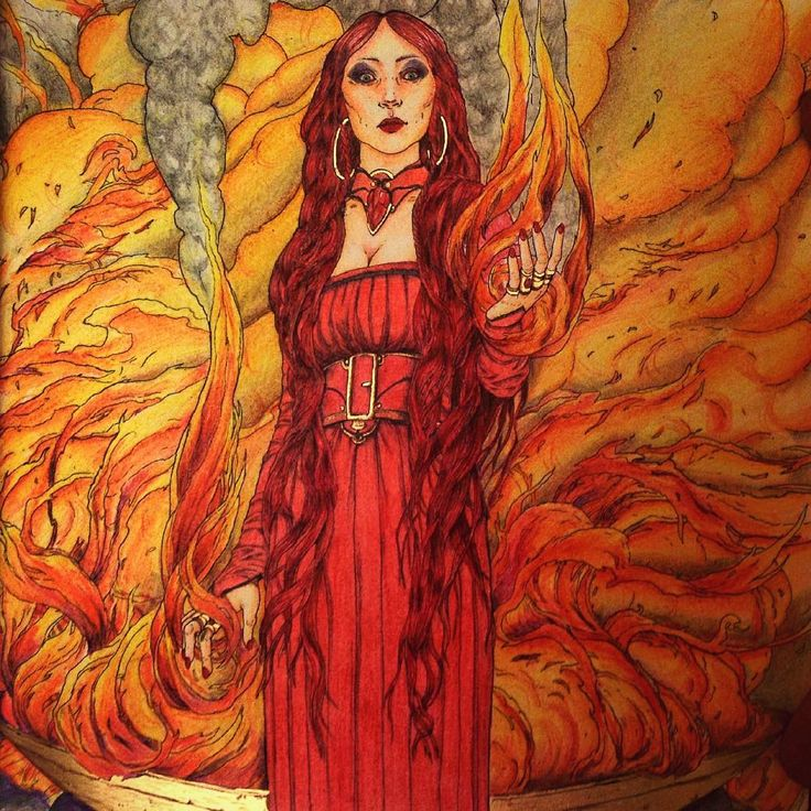 """Melisandre """"the red woman"""" this is one of my favorite. #gameofthronescoloringbook #gameofthrones #gotcoloringbook @gameofthronesfan_art @lady_melisandre"""