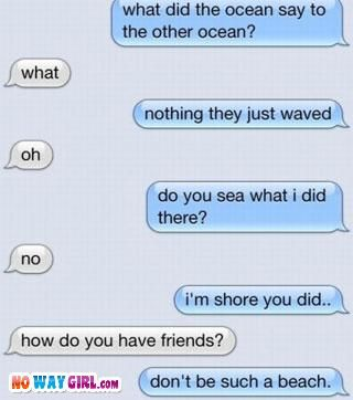 Funny Text Message - what did the ocean say to the other ocean? what. Nothing they just waved. Oh. Do you sea what I did there? no. I'm shore you did. How do you have friends? don't be such a beach.