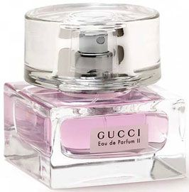 Gucci II - a fruity floral with notes of mandarin and blackcurrent.  Makes me feel sexy without overdoing it.