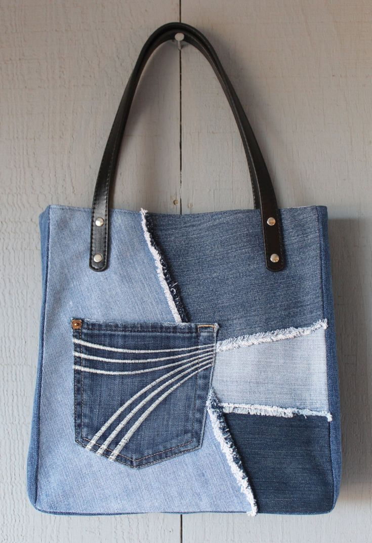 Denim Frayed Patch Slouchy Tote with Outside Pocket, Leather Straps, Two Interior Pockets with Kaleidoscope Inspired Canvas Fabric by AllintheJeans on Etsy