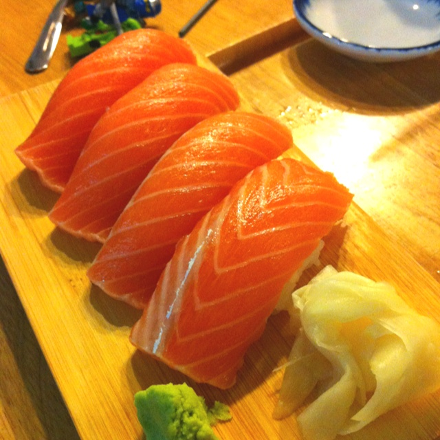 Salmon Nigiri at Tadashi in Pearl Kai. Always satisfying!