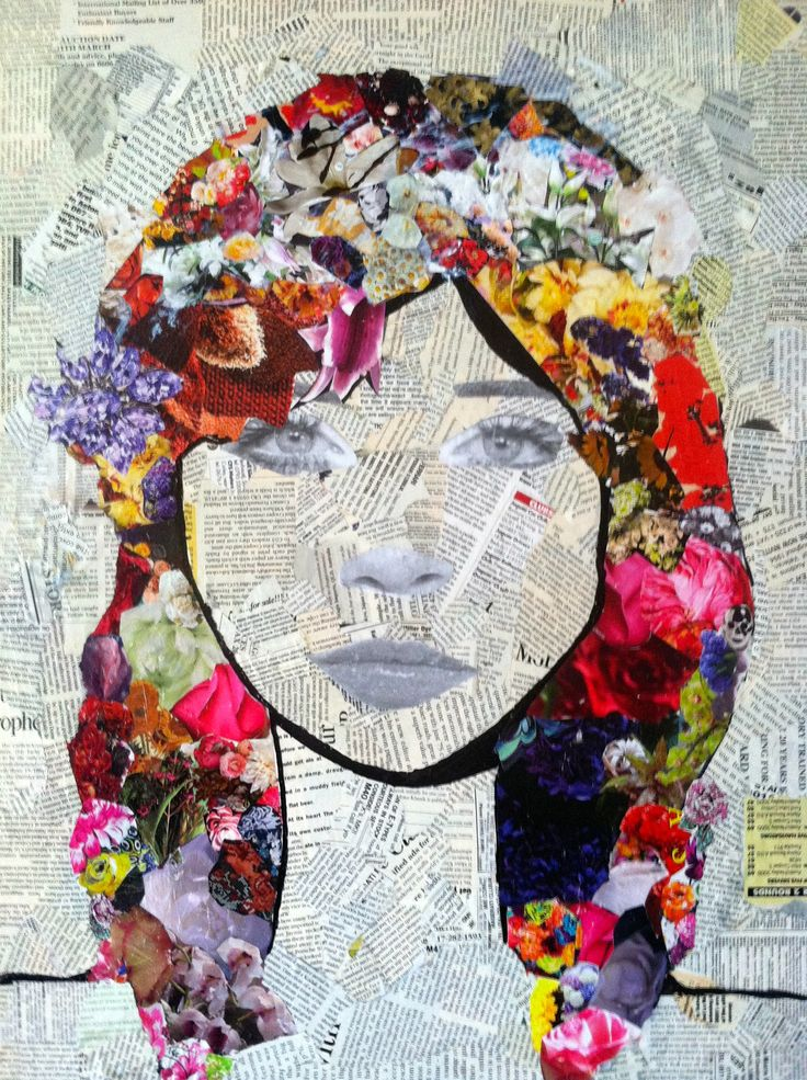 mixed media art = torn newspaper bknd, draw portrait on top, add more collage for hair