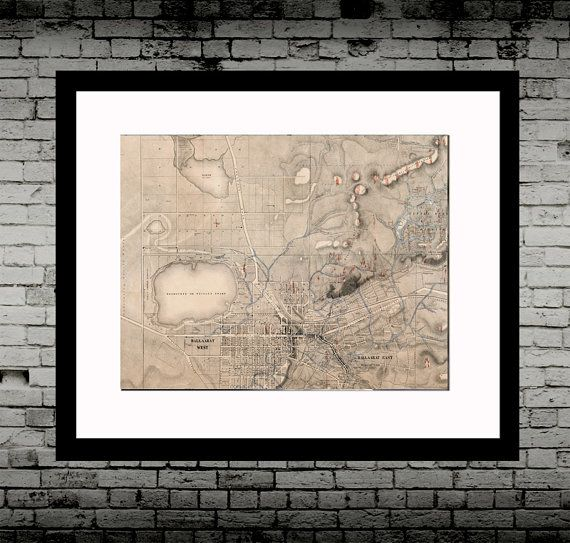 """Ballarat Map - Quartz Reef Gold Map of Ballarat 1861, by  J. Brache,  poster, print, antique map, wall art, Ballarat    Showing the quartz reefs where gold was found until 1861.    Printed on matt Fine art archival paper (unframed).    Also available in:    8x10""""  A4  A3  A2    Drawn by  J. Brache and engraved and printed by Brown & Slight 1861.    See my other listings for more great antique maps and prints! Customisation available for size or colours etc. 