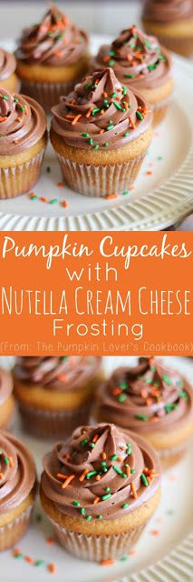 Pumpkin Cupcakes with Nutella Cream Cheese Frosting PLUS The Pumpkin Lover's Cookbook Review