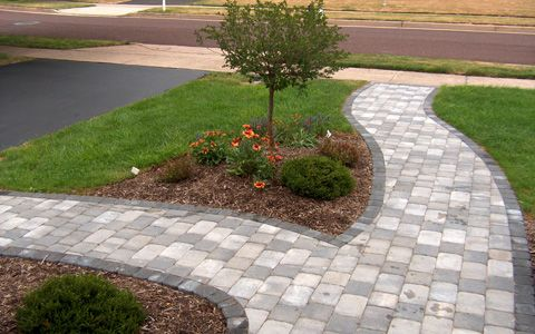 pictures of paver walkways up to front doors | View the online Walls & Walkway Design Portfolio - Anthony Landscapes ...