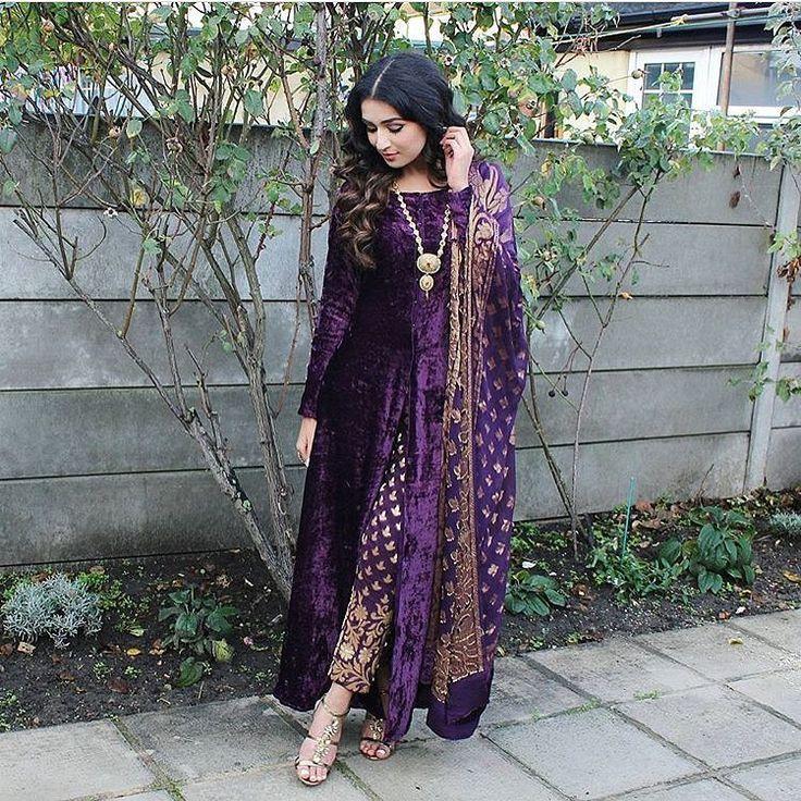 "824 Likes, 10 Comments - STYLE ON SET (@pakistanstyleonset) on Instagram: ""Swooning over this pretty purple velvet attire @ibreatheshoes #styleonset #styleinspiration"""