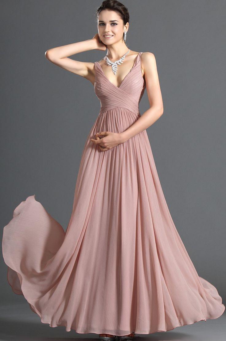 Smala Axelband A-line/Princess rmlös Volang Floor-length Chiffong Dresses
