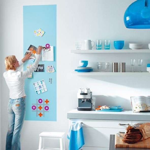 magnetic paint - accent strip of color?  Or maybe on the built ins?