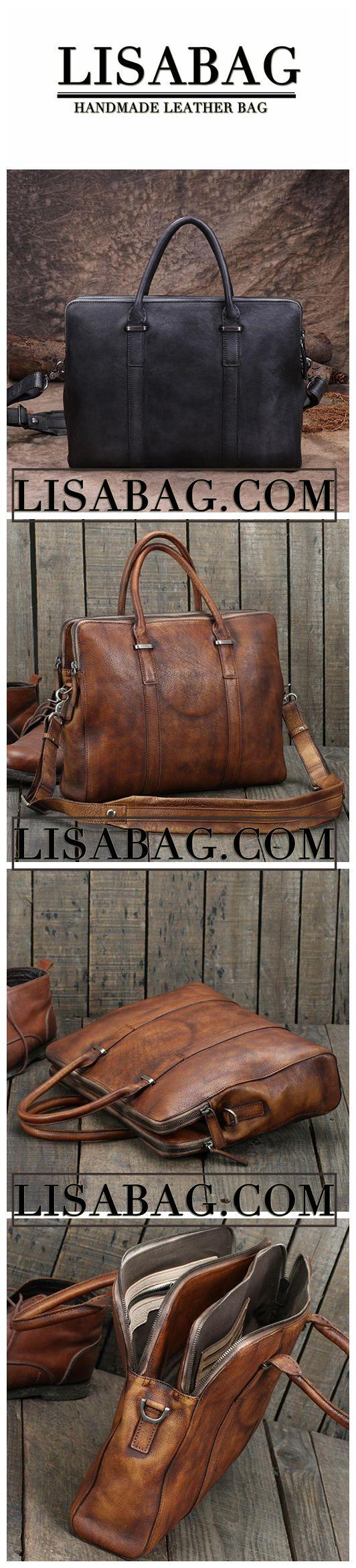 Handmade Gray Leather Briefcase Men's Business Bag Handbag Fashion Laptop Bag 14119
