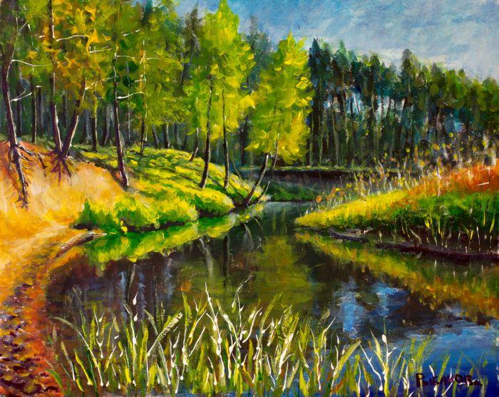 №591 Белорусская река в лесу. Размер: 40х50см. Холст, акрил.