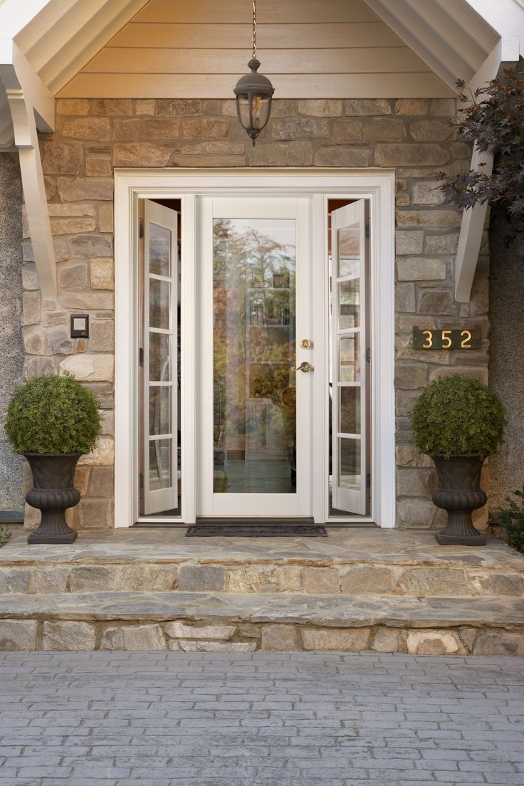 Ashworth r entry door with venting sidelites by woodgrain for Exterior french doors with side windows