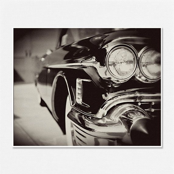 Cadillac Picture - Classic Car Photography - Black and White - Mad Men - Manly - Black - Chevy Cadillac - 1950s Car - 8x10.. $30.00, via Etsy.