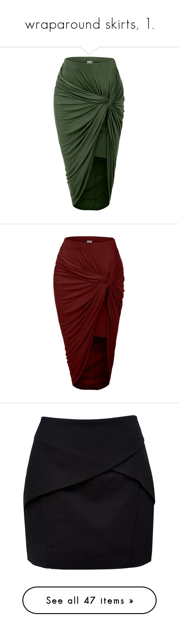 """""""wraparound skirts, 1."""" by originalimanim ❤ liked on Polyvore featuring skirts, bottoms, green skirt, hi low skirt, high low wrap skirt, high low skirt, green wrap skirt, red high low skirt, red hi low skirt and short front long back skirt"""