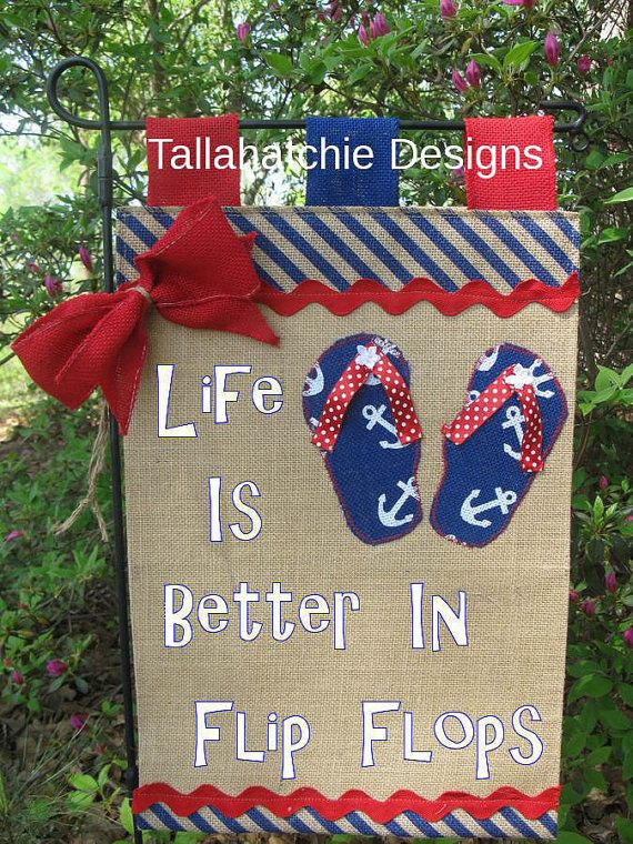 Burlap garden Flag*Flip Flop Garden Flag* Red White And Blue Flag* Summer Garden Flag *Nautical Garden Flag*Beach Flag