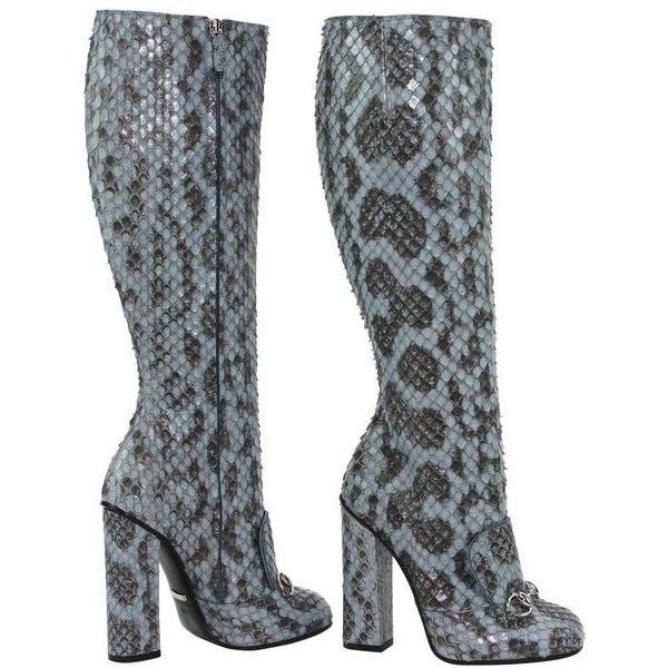 Preowned New Gucci Campaign $3500 Python Horsebit Knee High Boot... (7.225 BRL) ❤ liked on Polyvore featuring shoes, boots, grey, gray loafers, gucci loafers, python boots, gray knee high boots and grey loafers