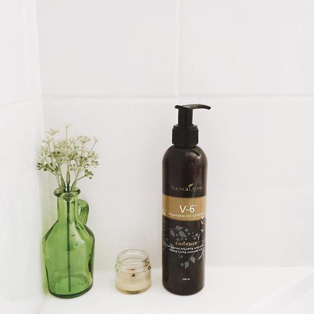 """V6 Vegetable Oil by Young Living is our favourite """"carrier"""" oil. It's what we use to make all our roller blends and what we use to dilute oils when we use them on our little Alice. It also makes a wonderful massage oil. So great for so many things!!! ❤️❤️"""