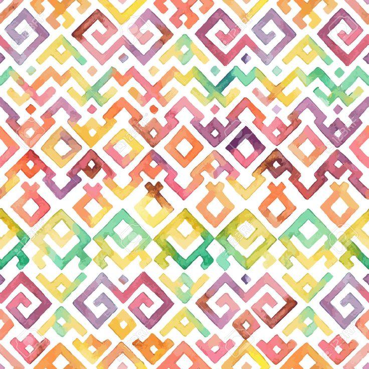 Seamless Mano Acquerello Disegnato Etnico Tribale Modello Ornamentale. Tessuto, Scrapbooking, Carta Da Regalo Modello Struttura. Clipart Royalty-free, Vettori E Illustrator Stock. Image 39785817.