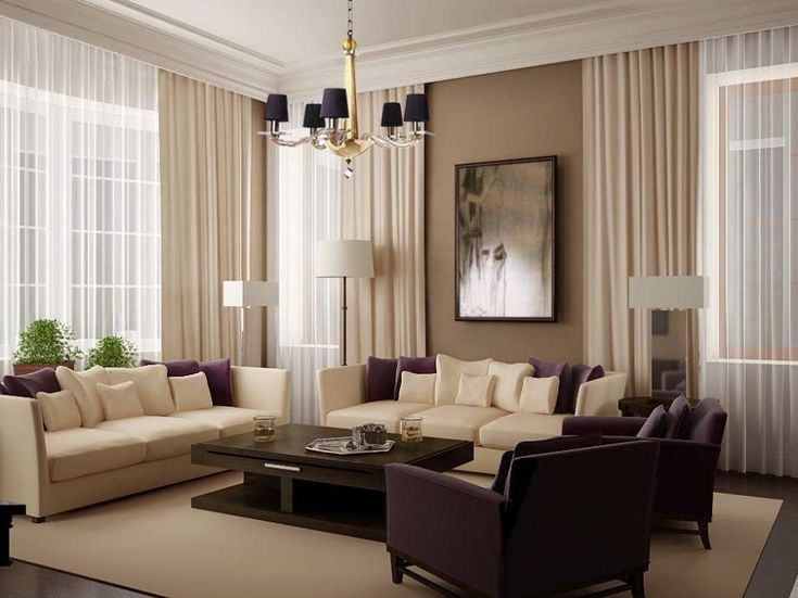 Living Room Furniture Ideas For Apartments Glamorous Large Expensive Curtains That Covering High Windows Also A Pintings At The Wall As
