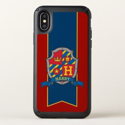 Boys personalized knight shield name blue red case - red gifts color style cyo diy personalize unique