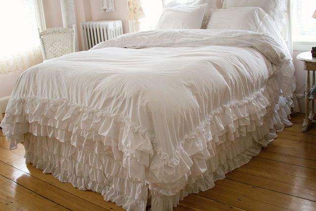 ruffled bedspreads and comforters   Ruffled White Duvet-shabby chic style bedding, white ruffle duvet ...