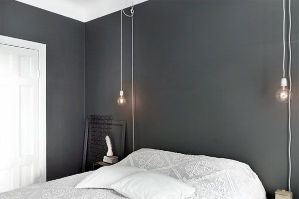Dark grey bedroom walls + great light fixtures