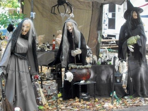 """my witches I made with their """"hut"""" love my old girls!"""
