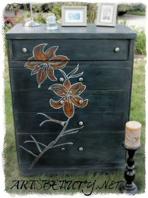 "ART IS BEAUTY: Dumpster DIVE to Dumpster DIVA etched ""LILY"" DRESSER.  The Before and After are unbelievable!  Love the Lily design and the change in location of the drawer hardware."