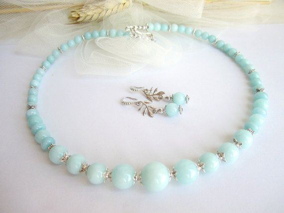 Amazonite necklace and earring set amazonite by MalinaCapricciosa