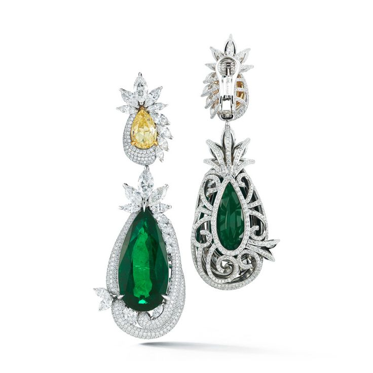 Emerald Earring Pear Shape with Fancy Yellow Diamond | From a unique collection of vintage dangle earrings at https://www.1stdibs.com/jewelry/earrings/dangle-earrings/