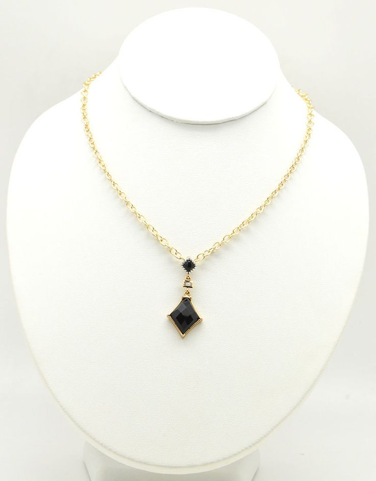 Barse Jewelry Onyx, Bronze, Silver and Crystal Dainty Toggle Necklace