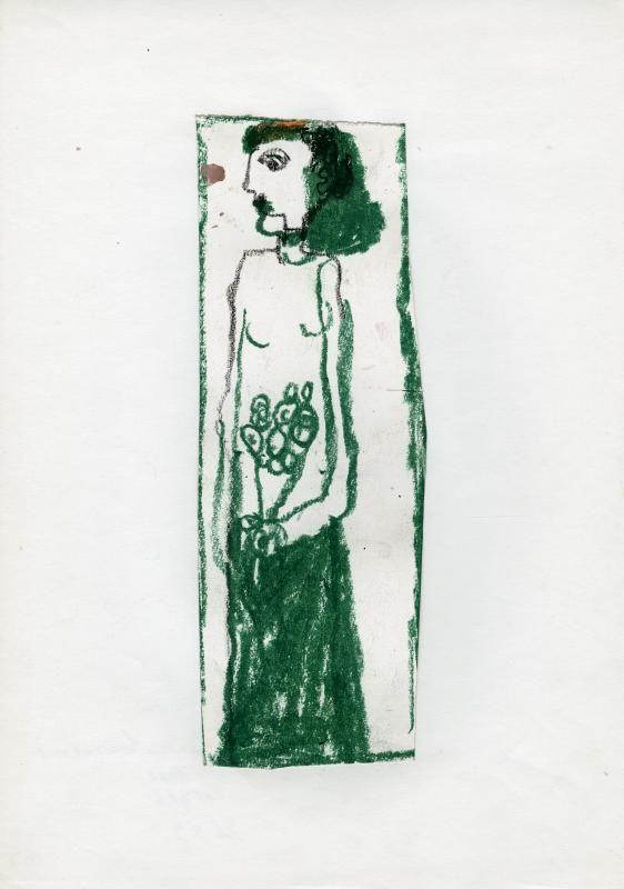 René Moreu, Femme au bouquet vert, craie, 1982 / ©Musée du Vivant - AgroParisTech
