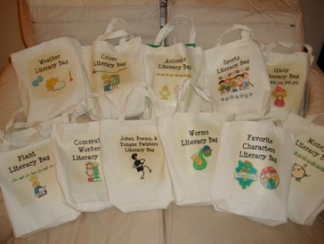 Literacy Bags - go to Teacher's Corner to find link for iron patches for these wonderful bags.