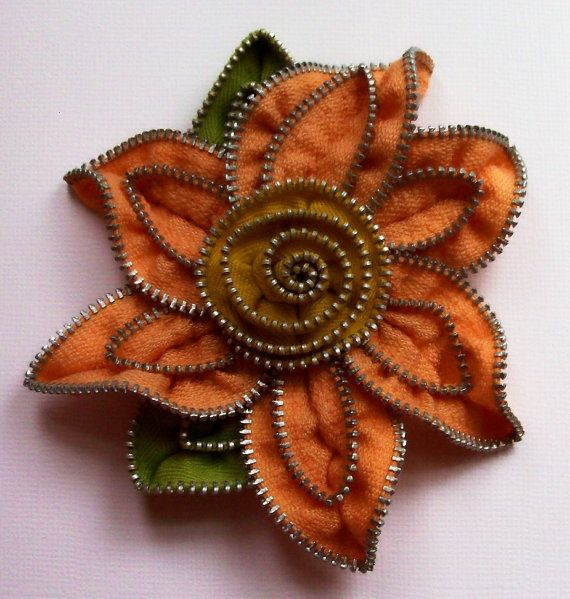 Peach and Goldenrod Floral Brooch approx 4.25 inches, 10.5 cm by ZipPinning 2192