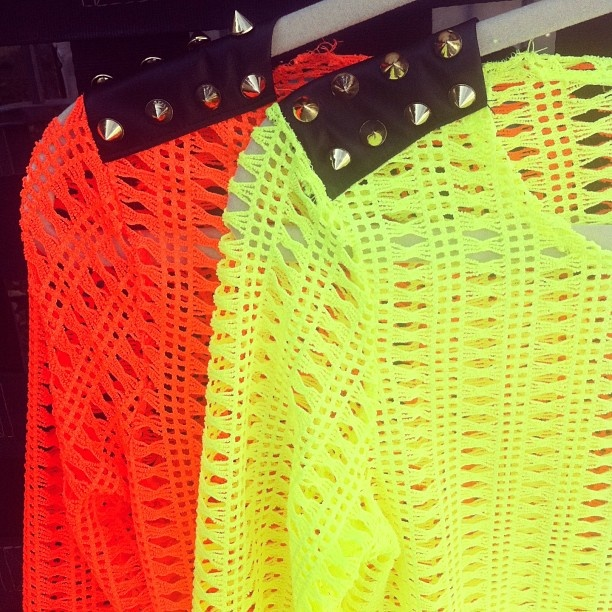Spiked citrus punch. gojane neon sweater knit top summer lime orange spikes spiked netting fun friday