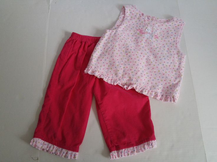 Girls 18 Months Pink Corduroy Pants Polka Dot Poodle Embroidered Top Just Ducky | eBay