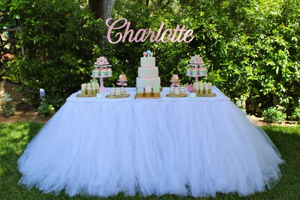 Tulle Tutu Tablecloth by Mrs. Freund & Co.  Birthday party, baby shower, bridal shower, party, wedding, sweets table, cake table